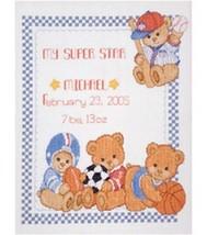Bucilla Sports Bear Birth Record Cntd X-Stitch Kit - $20.79