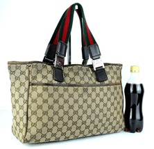 Auth GUCCI GG Pattern Beige Canvas & Brown Leather Tote Shoulder Hand Ba... - $147.51