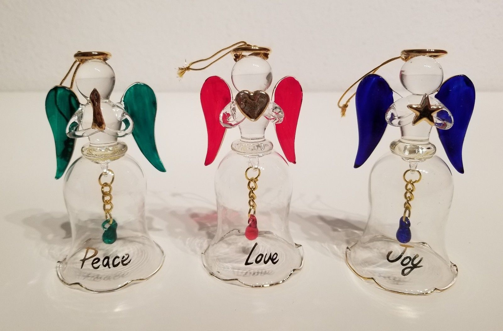 New in Box  AVON Angelic Glass Bells  Set of 3 Glass Angel Bell Ornaments 4.5 '""