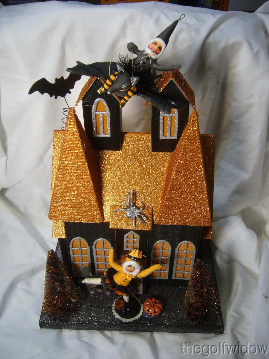Halloween Lighted Haunted House w/ Spun Cotton Child on Bat & Ballerina Girl