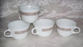 Vintage PYREX Corning WOODLAND Cups / Mugs - Set of 4- White/Brown -Core... - $7.25