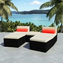 vidaXL Outdoor Modular Sofa Set 14 Piece Wicker Poly Rattan Black Sun Lounger - $384.99