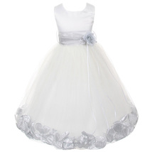 White Satin Bodice Layers Tulle Skirt Silver Sash Flower Ribbon Brooch and Petal - $48.00