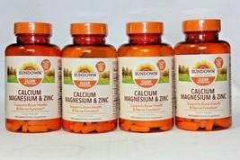 4 Pack! Sundown Naturals Calcium Magnesium Zinc, 100 Caplets each, Exp 06/2023 - $25.73