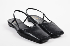 Kate Spade Black Sparkle Glitter Slingback Square Toe Flats SZ 8.5 AA - $55.00