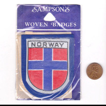 Vtg Norway Patch-Travel-Sampson Souvenir-Blue Felt-Europe-Shield Crest Flag - $14.01