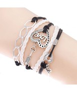 E bracelet lock key cupid s arrow charms infinity bracelet white pink leather bracelet thumbtall
