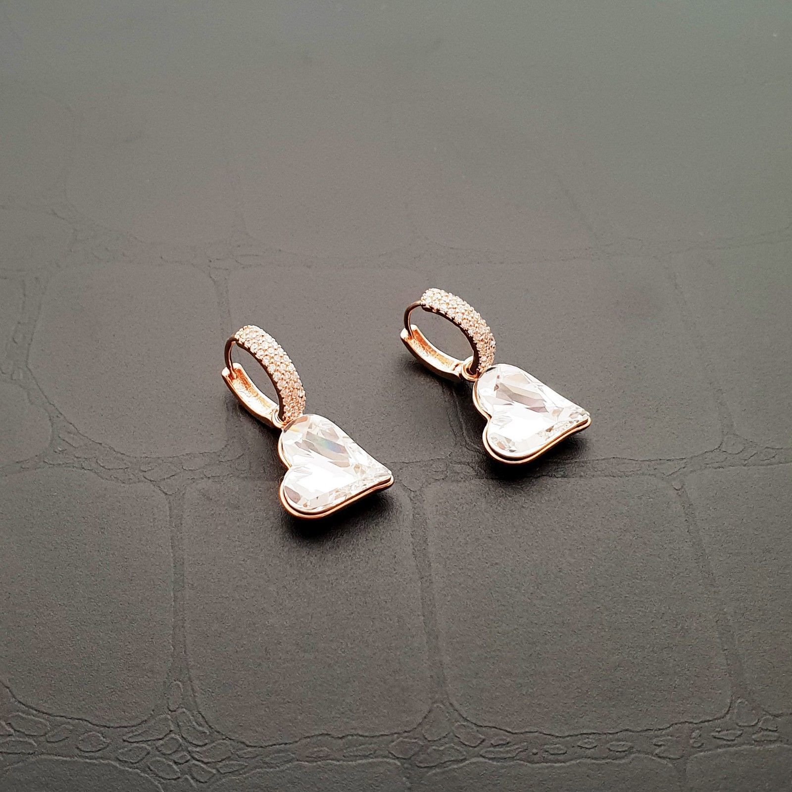 Heart Made With Swarovski Crystal Laverback Dangle Earrings Cubic Zirconia E215 image 5