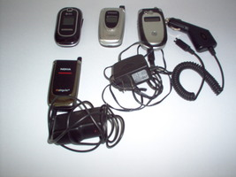 Lot of Non Working  Flip Cell Phones Samsung Nokia Motorola Chargers Car... - $20.00