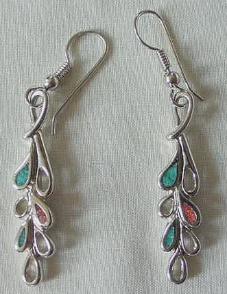 Primary image for 2 Pairs of Vintage Silver & Turquoise Earrings