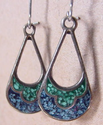 2 Pairs of Vintage Silver & Turquoise Earrings