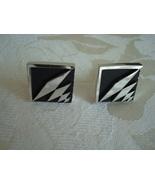 Vintage Swank Cuff Links ~ Silver-tone ~ Black - $7.00
