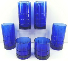 Anchor Hocking Tartan Cobalt (4) Iced Tea (2) Old Fashioned Set Blue Bar... - $68.97