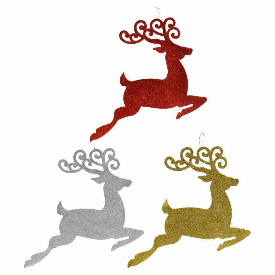 Christmas House Glittery Leaping Reindeer Wall Decor Choose 1 Red, Gold, Silver  - $3.50