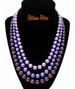 Kissaka Purple Stranded Vtg Necklace   Halloween Witch Dracula Vampire C... - $24.00