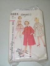 Simplicity 3331 Girl Dress Coat Pattern 13372 Vintage Size 10 Girls - $12.17