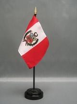 "Peru 4X6"" Table Top Flag W/ Base New Desk Top Handheld Stick Flag - $4.95"
