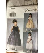 VOGUE V9072 Girls Formal Dress Flower Girl 1ST Communion Size 3-8 Sew Pa... - $26.43