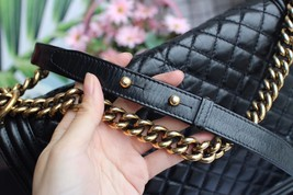 AUTHENTIC CHANEL BLACK QUILTED GLAZED CALFSKIN LARGE BOY FLAP BAG RECEIPT GHW image 9