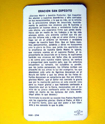 SAN EXPEDITO Saint St. Expeditus Italy HOLY CARD Prayer Republic of Molossia FAB