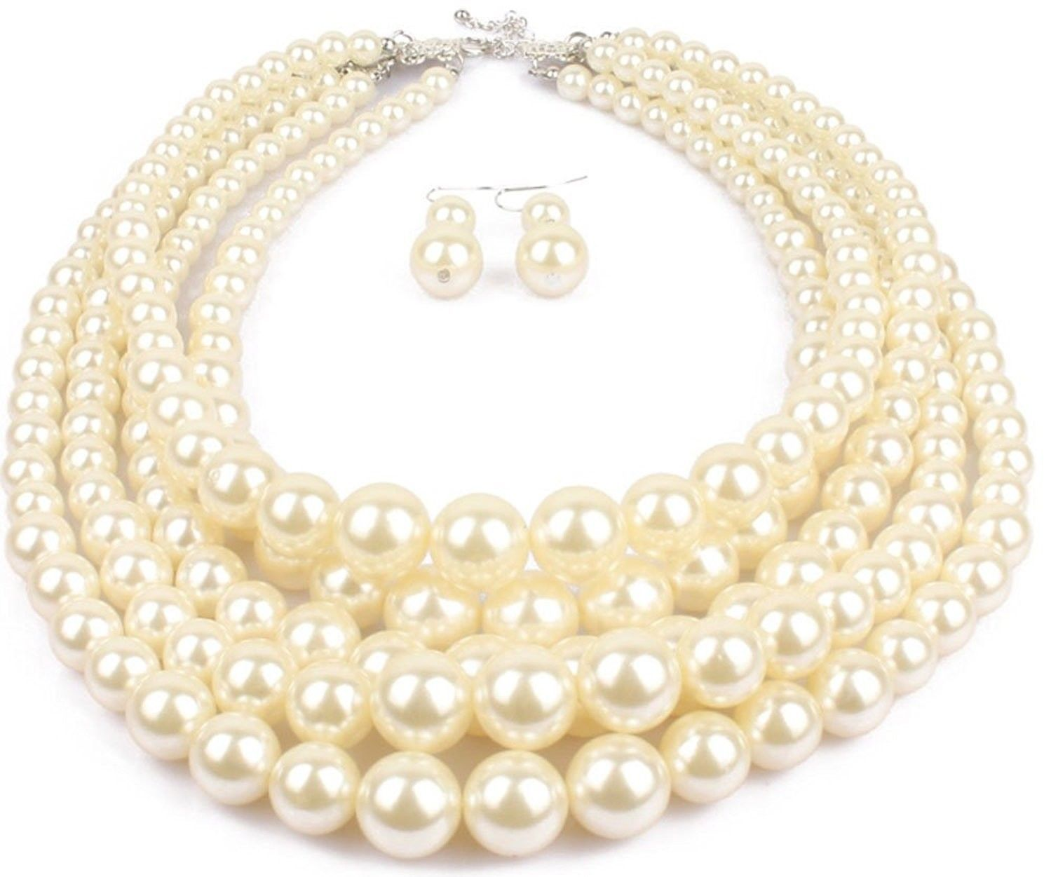 Shineland Elegant 5-laryered Multi-Strand Pearl Cluster Collar Bib Choker