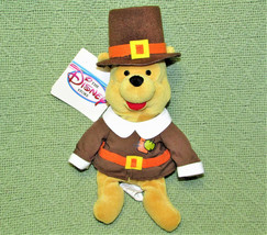 "Disney Store 8"" Pilgrim Winnie Pooh B EAN Bag + Tag Thanksgiving Stuffed Animal - $11.88"