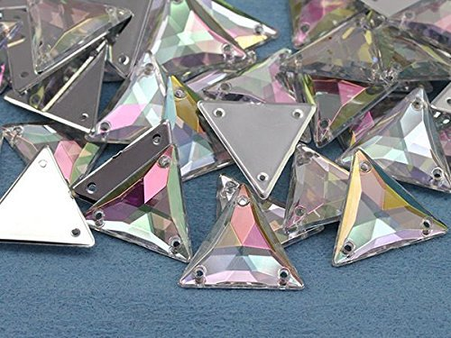 20mm Crystal Clear AB H702 Triangle Flat Back Sew On Gems For Craft, -15Pieces
