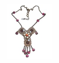 VERY UNIQUE GORGEOUS ART DECO STYLE JEWELED DRAPERY NECKLACE - $85.00