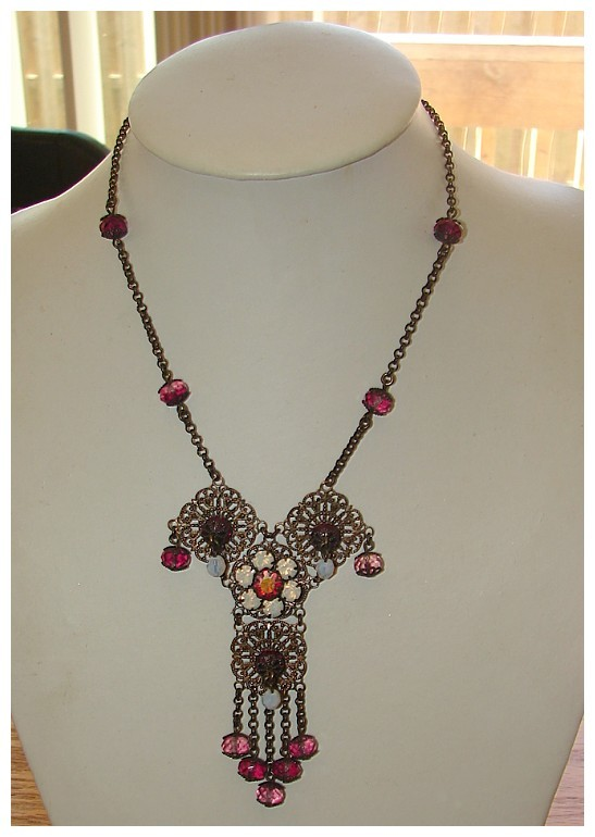 VERY UNIQUE GORGEOUS ART DECO STYLE JEWELED DRAPERY NECKLACE