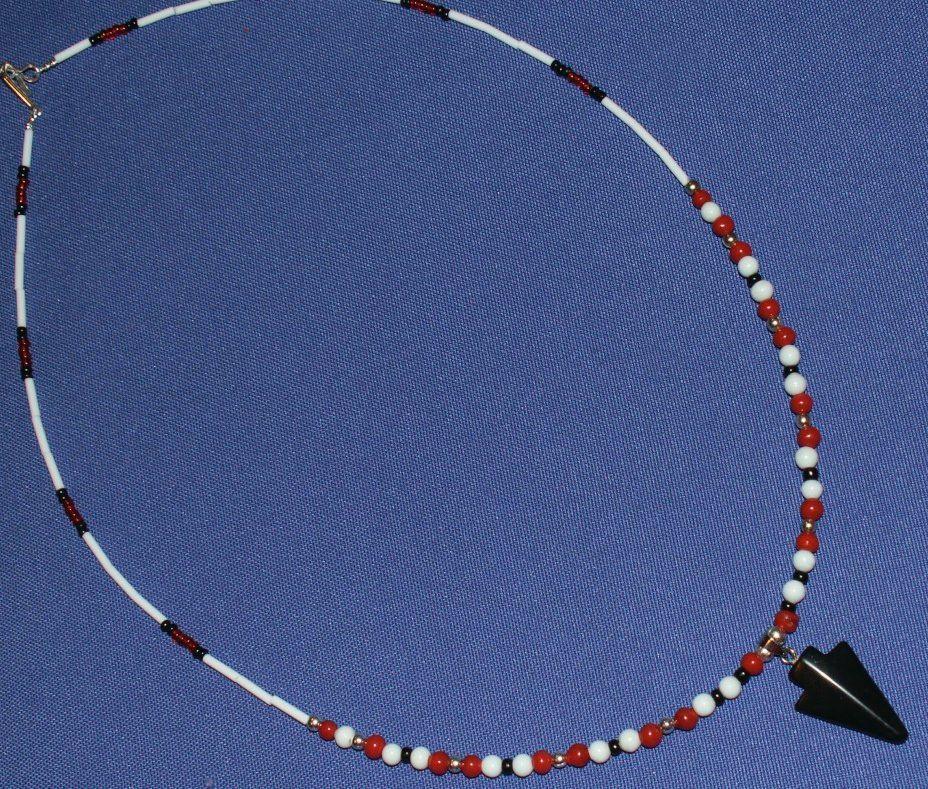 "22"" Black Onyx Arrowhead Necklace, Apache Made"