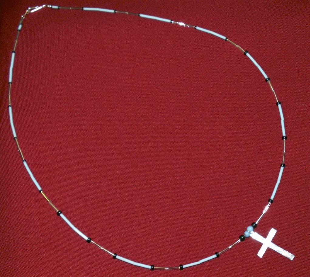 "25"" Rhodium Cross Necklace, Native Apache Made"