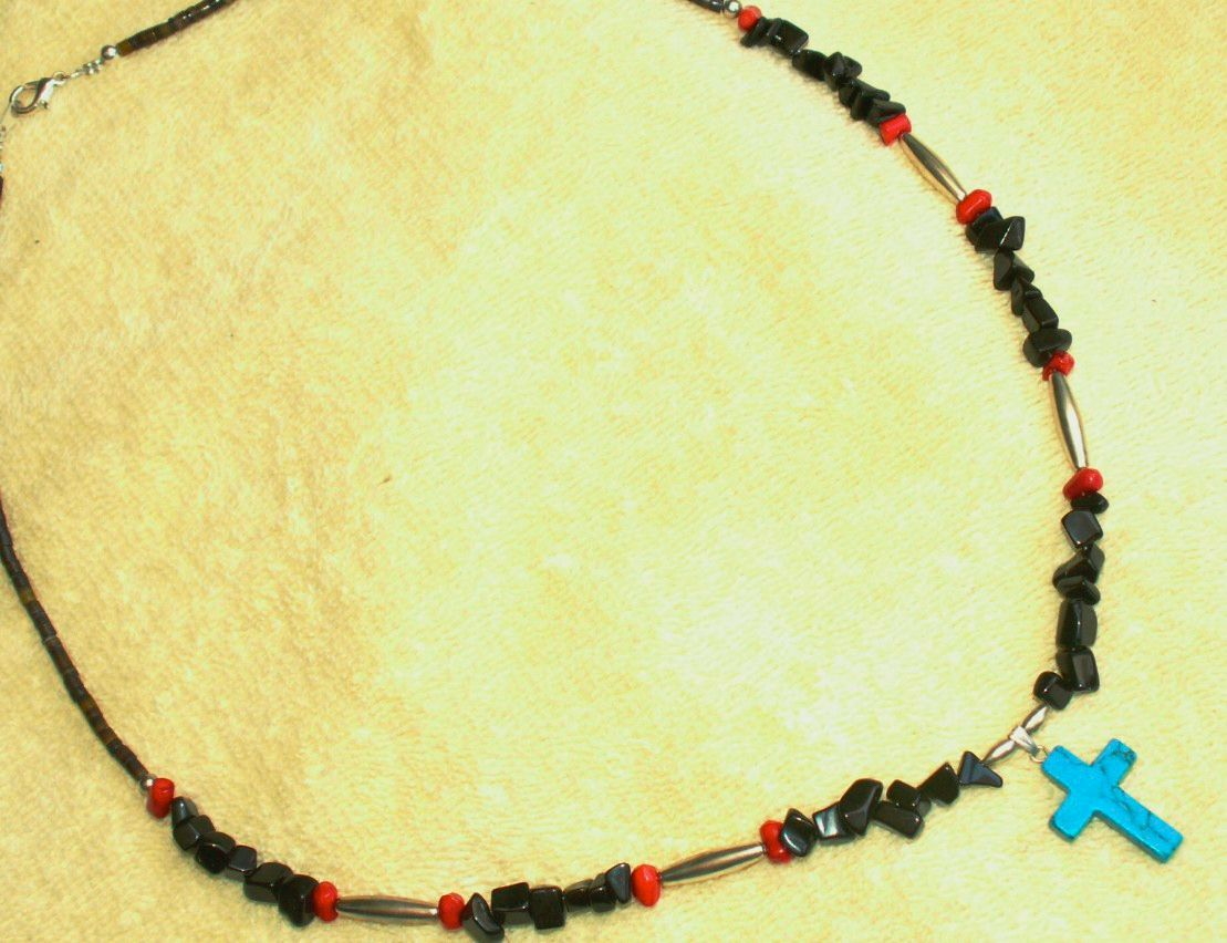 "25"" Turquoise Necklace, Apache Made"