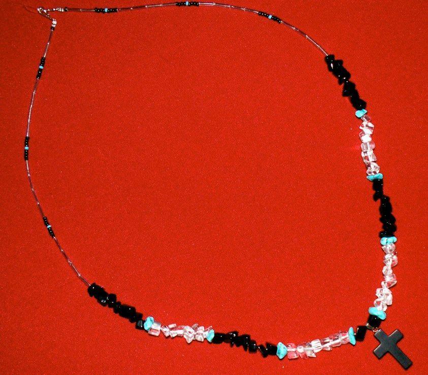 "26-1/2"" Jasper Cross Necklace, Southwestern, Apache Made"