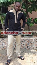 Odeneho Wear Men's Polished Cotton Top & Bottom/Embroidery Design.African Wear - $128.70+