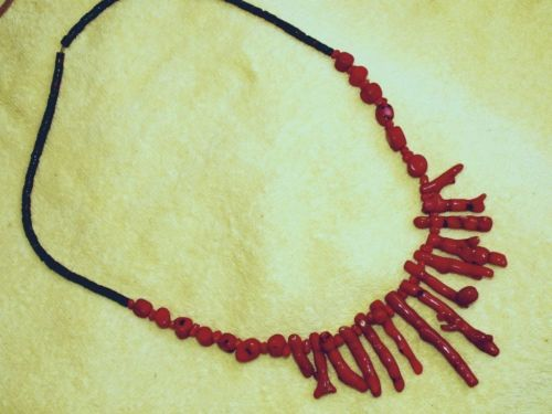 Branch Coral Necklace, Heishi Beaded, Apache Made