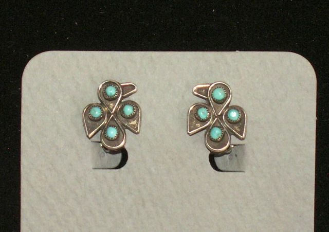 Sterling Silver,Turquoise Clip on Earrings,Southwestern