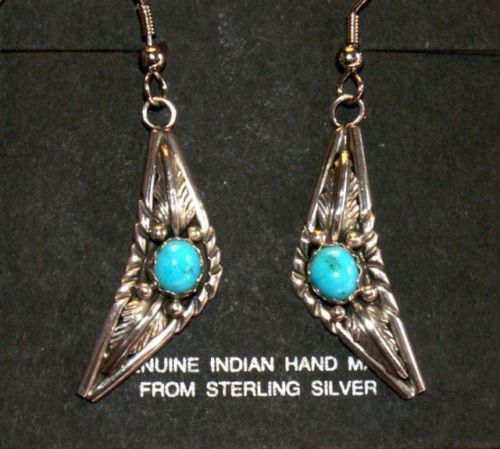 Sterling Silver,Turquoise Earrings, Southwestern