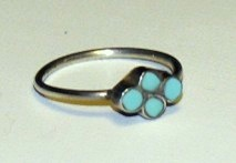 Sterling Silver Turquoise Southwestern Ring 4-3/4,5-1/4
