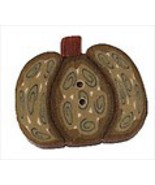 "Tiny Green Wild Pumpkin 2293t handmade clay button .5""JABC Just Another ... - $1.40"
