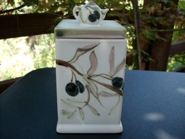 CERAMIC TEA BAG DISPENSER with OLIVE MOTIF - GORGEOUS ITEM!