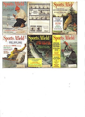 6 Issues-1964 SPORTS AFIELD-January-July-Fish/Hunt/Trap