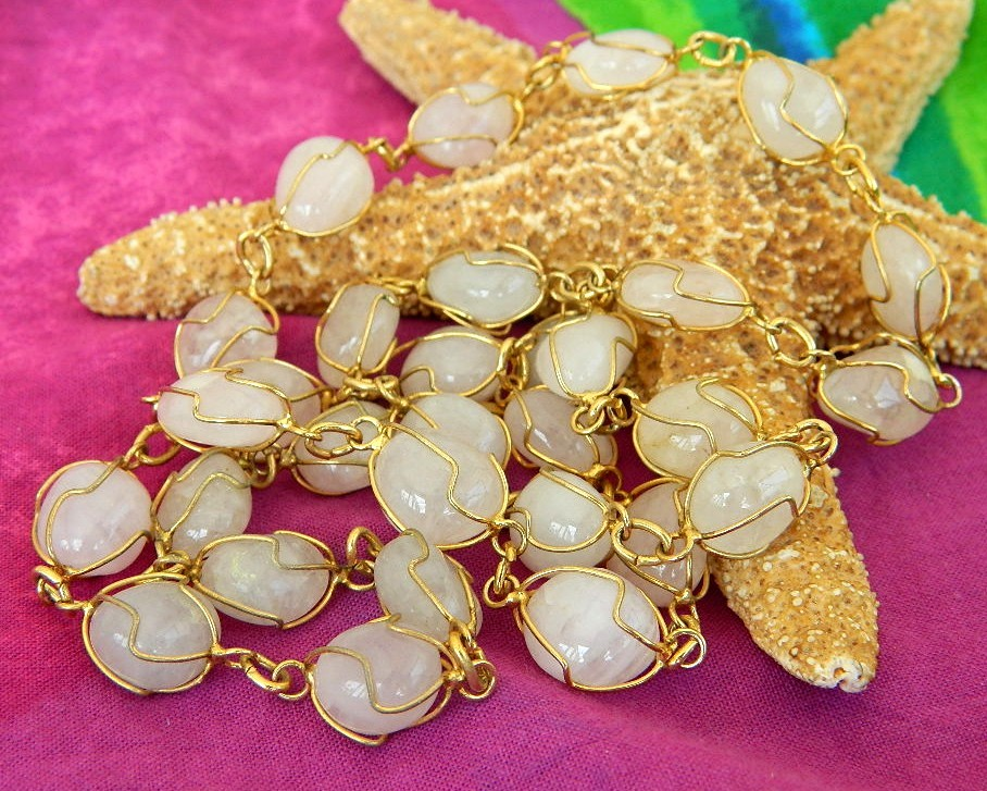 Vintage wire wrapped quartz gemstone necklace lapidary