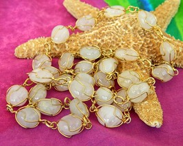 Vintage Wire Wrapped Quartz Polished Gemstone Stone Necklace Lapidary - $24.95