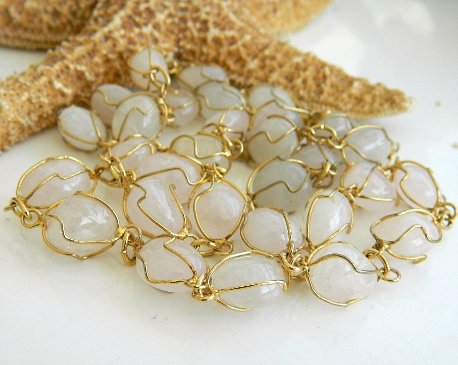 Vintage Wire Wrapped Quartz Polished Gemstone Stone Necklace Lapidary