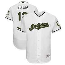 Men's Cleveland Indians #12 Francisco Lindor Jersey White 2018 Commemora... - €36,50 EUR