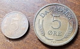 Two coins from Danmark: 1964, 1983 5 Ore - $2.95