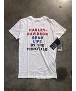 "Harley Davidson ""Grab Life By The Throttle"" White Mens T-Shirt Sz small - $20.79"