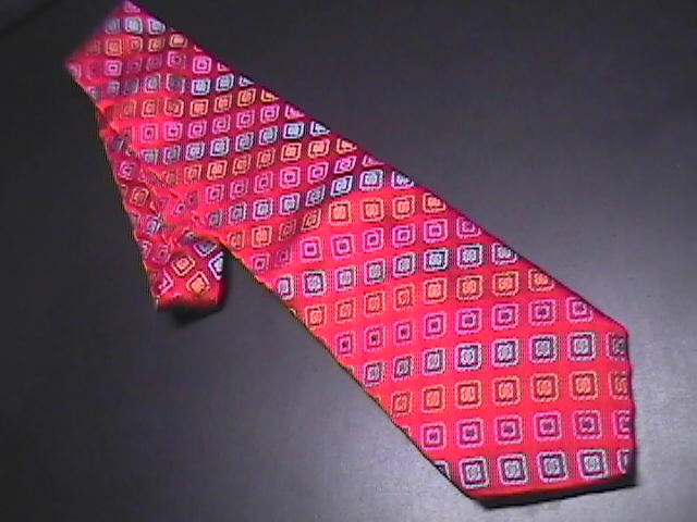 Tie bachrach bright red with rainbow colored diamonds 01