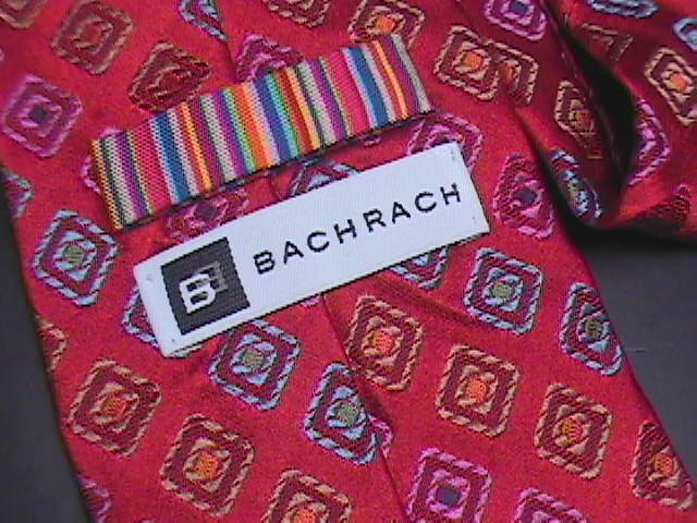 Bachrach Neck Tie Diagonal Stripes in Diamonds Bright Red with Rainbow Lining
