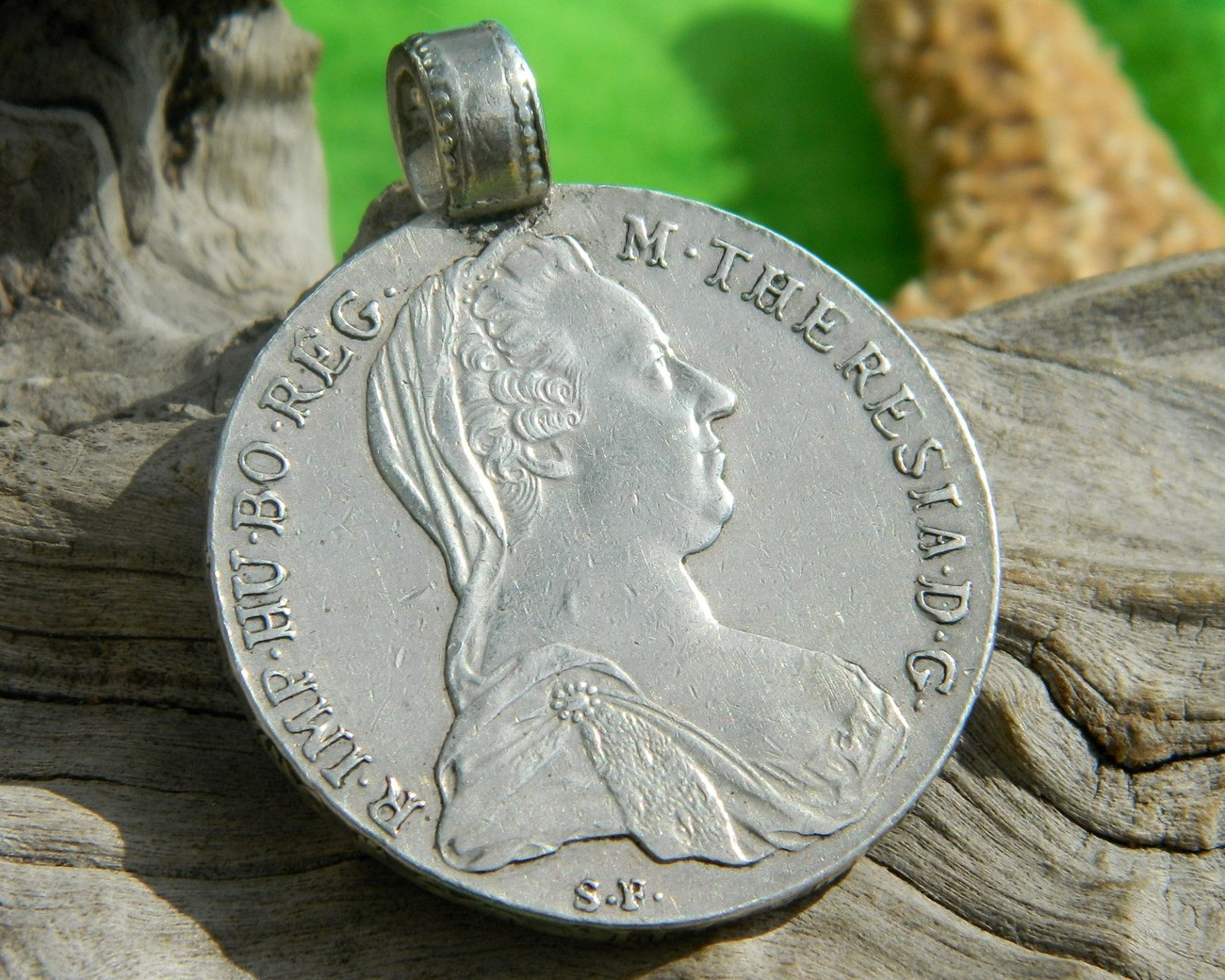 Thaler Coin Pendant Maria Theresia Austria Sterling Silver - $84.95